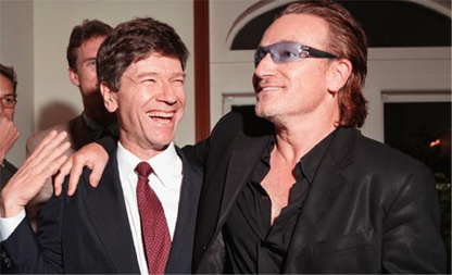 Jeffrey Sachs with U2 singer Bono
